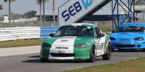 Jim Drago brought home a Spec Miata victory Sunday in a hard-fought race at Sebring Int'l Raceway during the Hoosier Super Tour. (Mark Weber Photo)