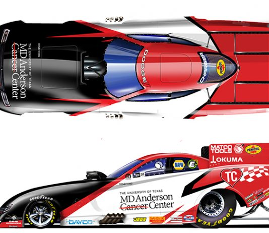 Tommy Johnson Jr. will fly the colors of the MD Anderson Cancer Center in 2020.