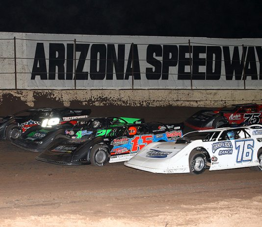 The field prepares to go racing prior to Saturday's Wild West Shootout opener at Arizona Speedway. (Mike Ruefer Photo)