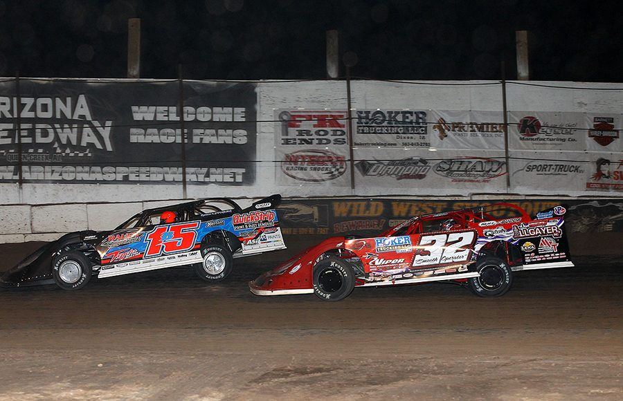 Brian Birkhofer (15) leads Bobby Pierce during Saturday's Wild West Shootout feature at Arizona Speedway. (Mike Ruefer Photo)