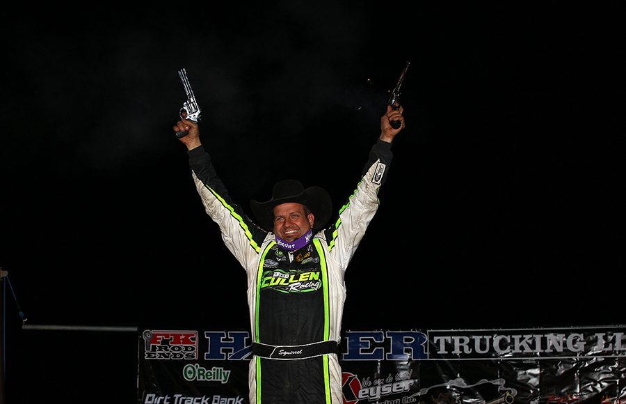 Brian Shirley celebrates after winning Saturday's Wild West Shootout feature at Arizona Speedway. (Mike Ruefer Photo)