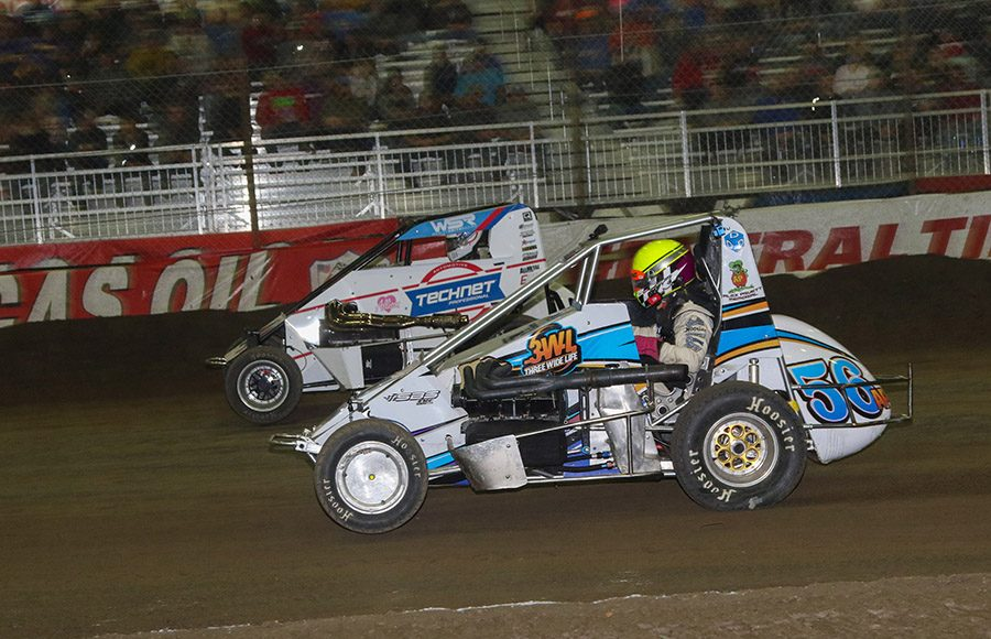 Action from Monday's Lucas Oil Chili Bowl Cummins Qualifying Night at Tulsa Expo Raceway. (Brendon Bauman Photo)
