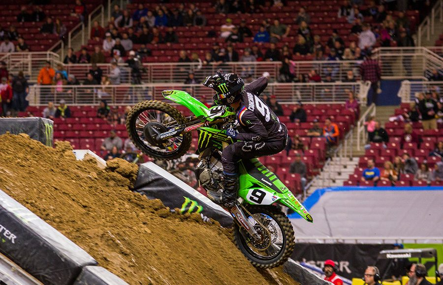 Adam Cianciarulo takes a jump during Saturday's Supercross event in St. Louis, Mo. (Darren Rutmanis Photo)