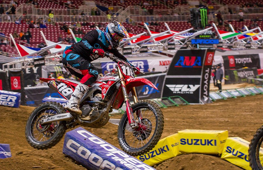 Cheyenne Harmon during 250 Supercross competition Saturday in St. Louis, Mo. (Darren Rutmanis Photo)