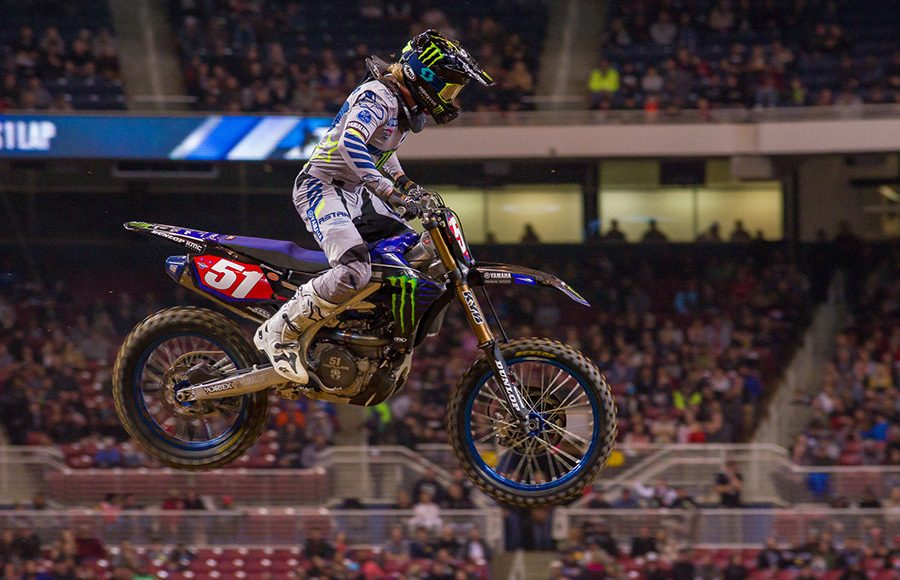 Justin Barcia flies through the air during Saturday's Supercross event in St. Louis, Mo. (Darren Rutmanis Photo)