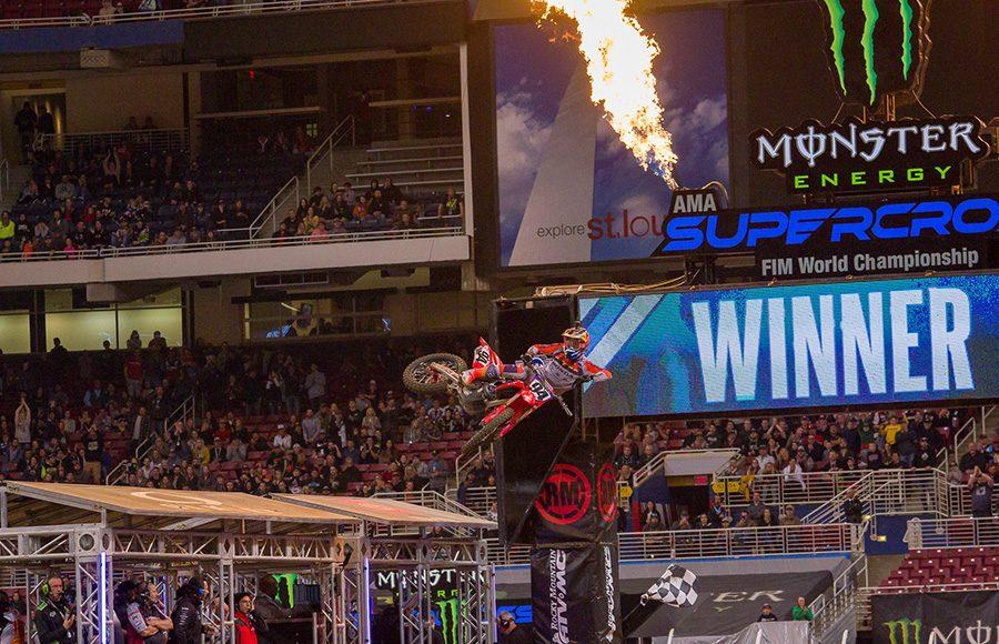 Ken Roczen flies through the air after winning Saturday's Supercross main event in St. Louis, Mo. (Darren Rutmanis Photo)