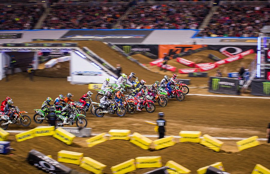 Riders rocket off the starting line during Saturday's Supercross event in St. Louis, Mo. (Darren Rutmanis Photo)