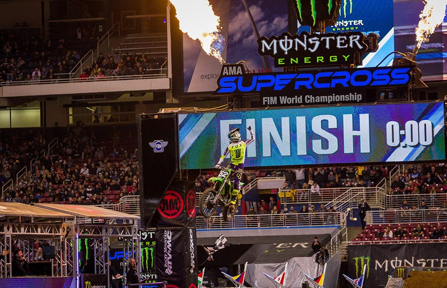 Austin Forkner celebrates after winning Saturday's 250 Supercross feature in St. Louis, Mo. (Darren Rutmanis Photo)