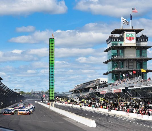 The NASCAR Xfinity Series, shown last year, will race on the road course at Indianapolis Motor Speedway on July 4. (IMS photo)