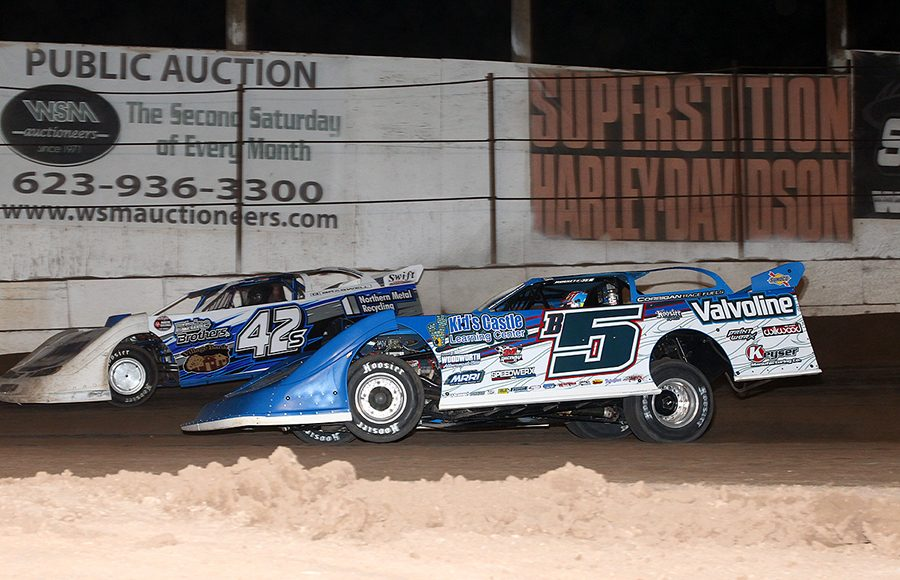 Brandon Sheppard (B5) races under Don Shaw during Sunday's Wild West Shootout event at Arizona Speedway. (Mike Ruefer Photo)