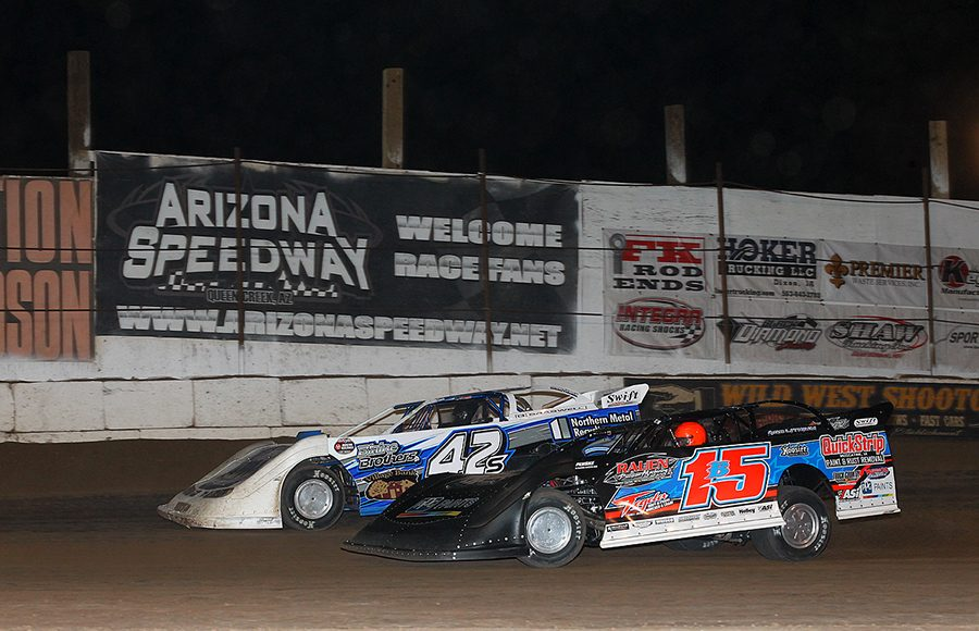 Brian Birkhofer (15) battles Don Shaw during Sunday's Wild West Shootout event at Arizona Speedway. (Mike Ruefer Photo)