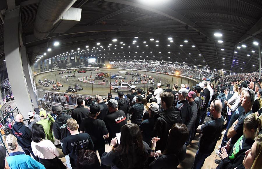 Fans packed the grandstands to watch Wednesday's Lucas Oil Chili Bowl Nationals preliminary event. (Frank Smith Photo)