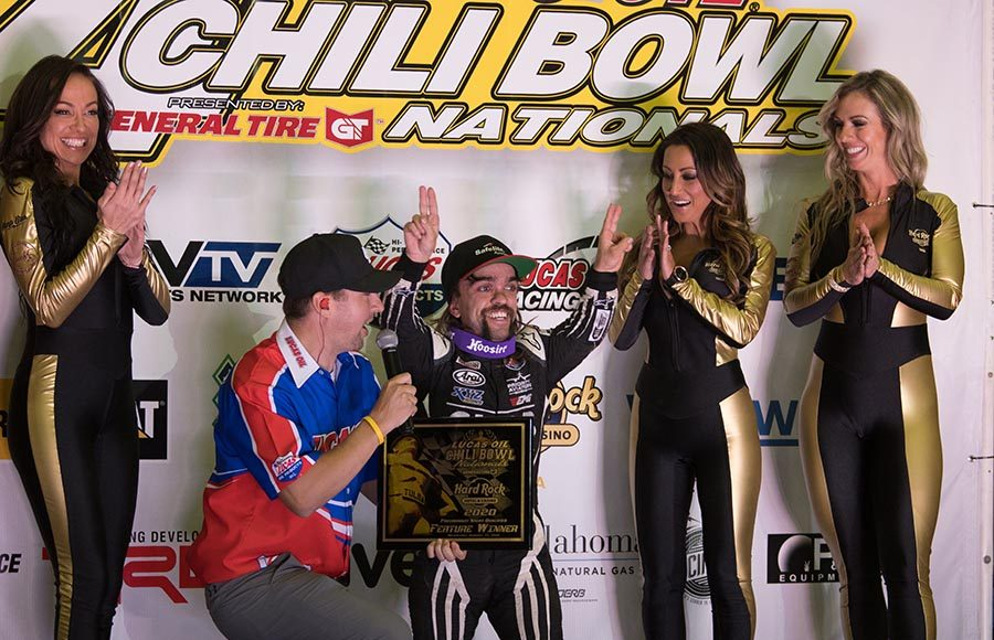 Rico Abreu celebrates in victory lane after winning Wednesday's Chili Bowl preliminary feature. (Devin Mayo Photo)