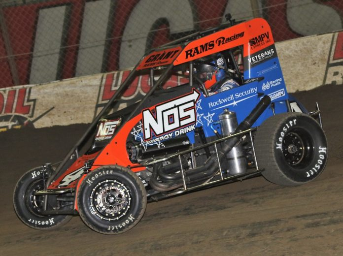 Justin Grant will try to earn another Chili Bowl preliminary feature win on Friday night. (Brendon Bauman Photo)