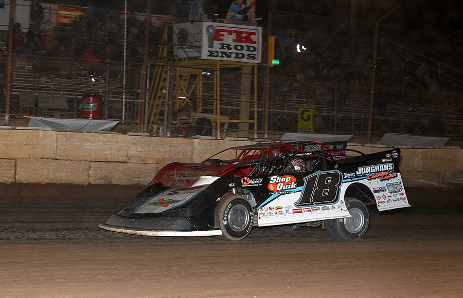 Chase Junghans (18) battles Bobby Pierce during Wednesday's Wild West Shootout event at Arizona Speedway. (Mike Ruefer Photo)