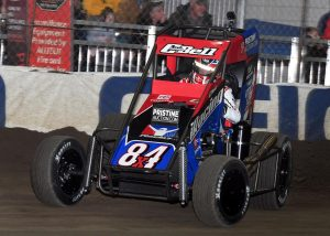 Christopher Bell en route to victory at the Chili Bowl Nationals. (Frank Smith photo)