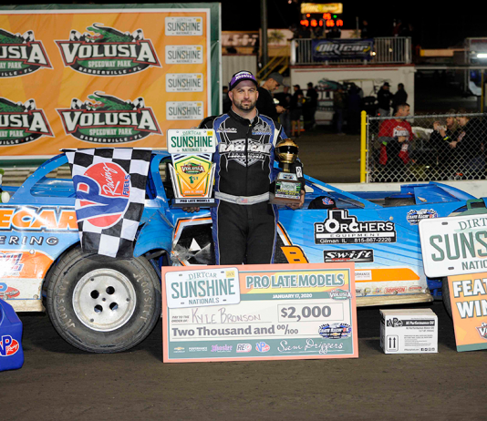 Kyle Bronson in victory lane at Volusia Speedway Park. (Mitchell Jenkins photo)