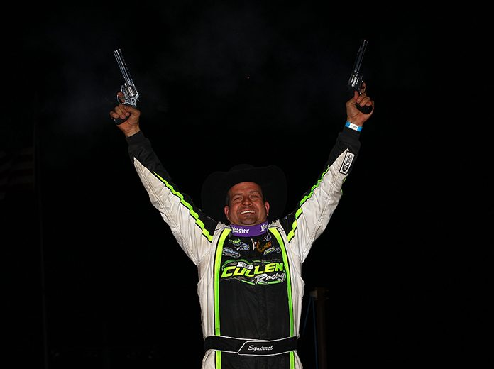 Brian Shirley celebrates after winning Friday's Wild West Shootout feature at Arizona Speedway. (Mike Ruefer Photo)