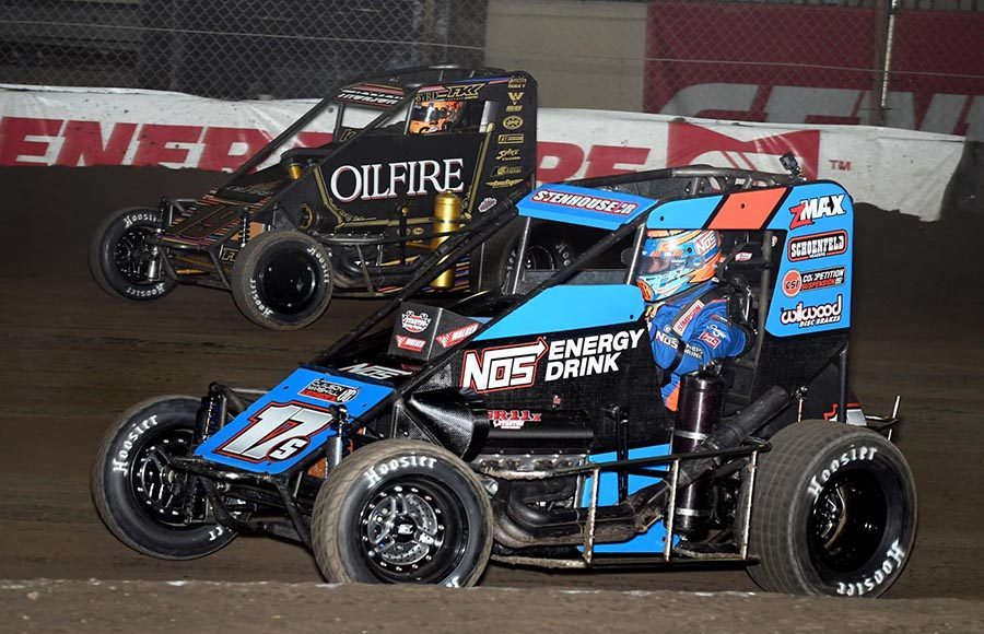 Ricky Stenhouse Jr. (17) battles Tanner Thorson during Friday's Chili Bowl qualifying event at Tulsa Expo Raceway. (Frank Smith Photo)