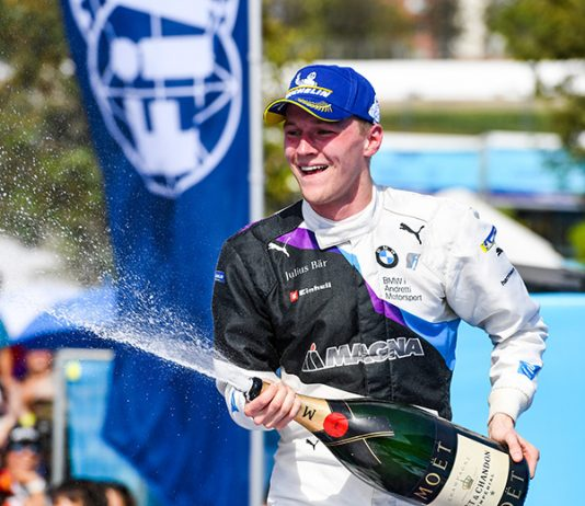 Max Günther celebrates after earning his first Formula E triumph Saturday in Santiago, Chile. (Formula E Photo)