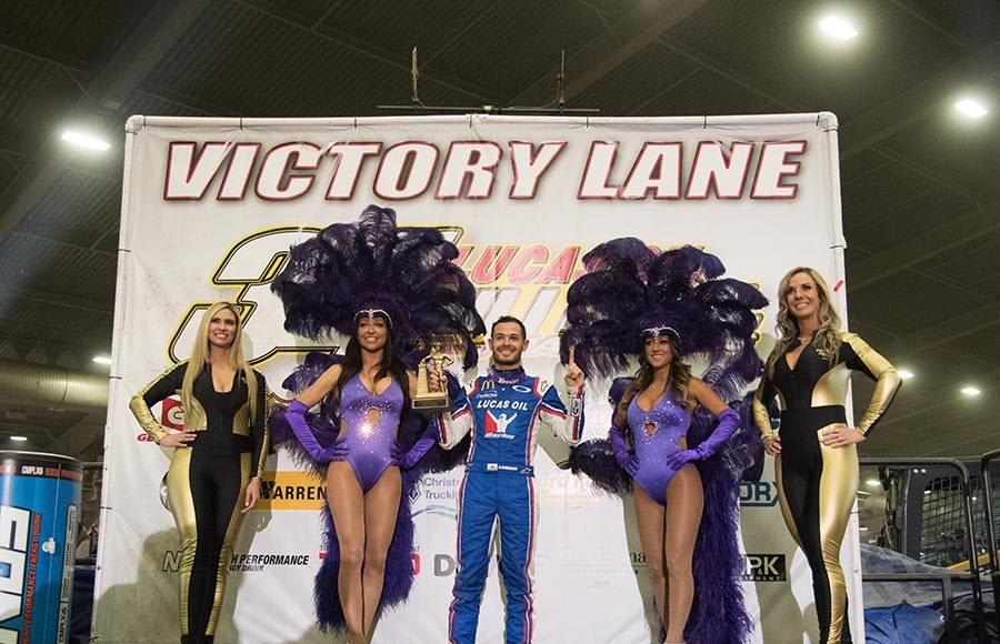 Kyle Larson poses in victory lane after winning the 34th running of the Lucas Oil Chili Bowl Nationals on Saturday night at Tulsa Expo Raceway. (Devin Mayo Photo)