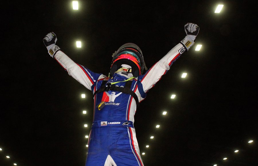 Kyle Larson celebrates after winning the 34th Lucas Oil Chili Bowl Nationals Saturday at Tulsa Expo Raceway. (Richard Bales Photo)