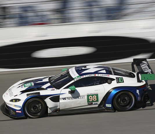 A pair of Aston Martin Vantage GT3s will be in the field for the Rolex 24. (IMSA Photo)