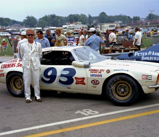 """Johnnie Reimer ready for USAC stock car competition at the """"Milwaukee Mile"""" in the early 1970s. (Stan Kalwasinski photo)"""