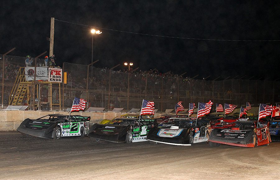 Competitors go four-wide prior to the start of Saturday's Wild West Shootout main event at Arizona Speedway. (Mike Ruefer Photo)