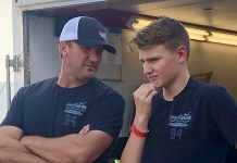 Ryan Rackley, shown here chatting with Lee Faulk Racing and Development's Michael Faulk, will make his pro late model debut during SpeedFest at Crisp Motorsports Park. (MPM Marketing Photo)