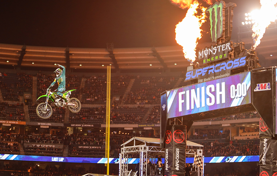 Eli Tomac sails through the air after winning Saturday's Monster Energy AMA Supercross feature in Anaheim, Calif. (Mark Munoz Photo)