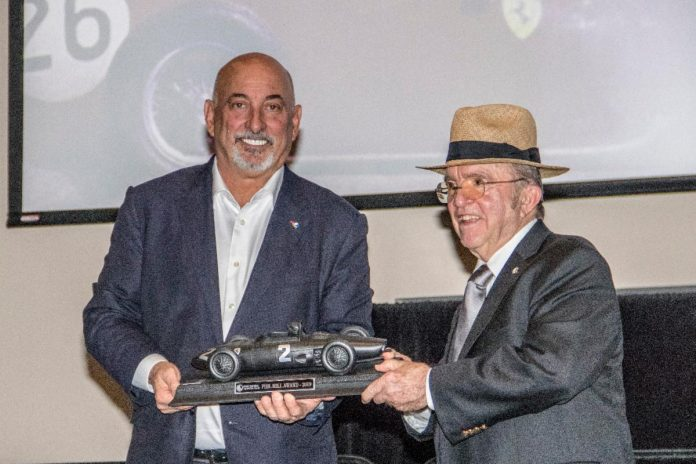 Bobby Rahal presents Jack Roush with the RRDC Phil Hill Award. (Brian Cleary photo)