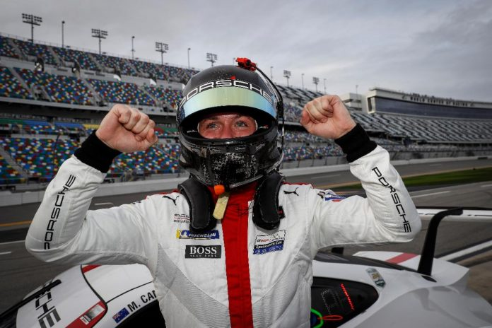 Nick Tandy celebrates after claiming the GT Le Mans class pole for the Rolex 24 (IMSA Photo)