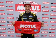 Kuno Wittmer will lead the IMSA Michelin Pilot Challenge field to the green flag during Friday's race at Daytona Int'l Speedway. (IMSA Photo)
