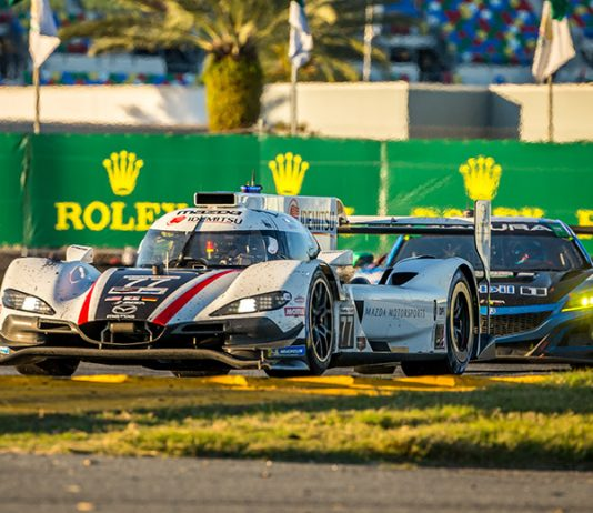 Mazda Team Joest's No. 77 entry was at the front of the Rolex 24 field after eight hours. (Dallas Breeze Photo)
