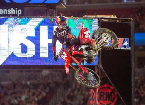 Ken Roczen claimed his second Supercross victory of the season Saturday night. (Feld Entertainment photo)