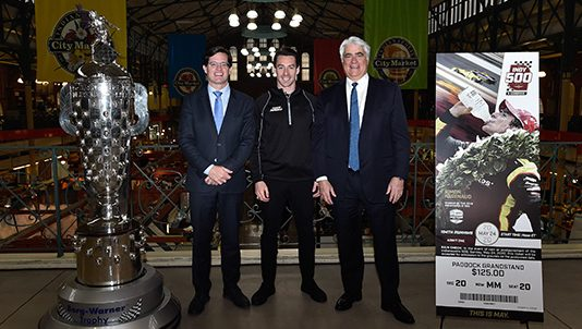 (From left) Indianapolis Motor Speedway President J. Douglas Boles, reigning Indianapolis 500 champion Simon Pagenaud and Penske Entertainment Corp. President & CEO Mark Miles. (IMS Photo)