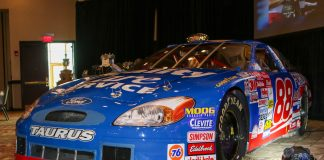 Bruce Cooper's No. 88 Robert Yates Racing Ford driven by Dale Jarrett was displayed Tuesday night during the annual NCMA Achievement in Motorsports banquet. (Adam Fenwick photo)