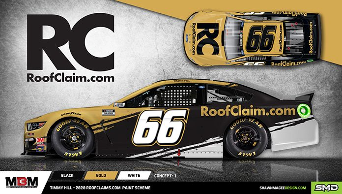 RoofClaim.com will sponsor MBM Motorsports and driver Timmy Hill in multiple NASCAR Cup Series races this year.