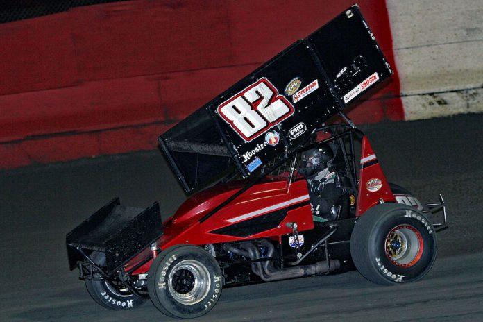 Garrett Green en route to victory at East Bay Raceway Park. (Jim DenHamer photo)