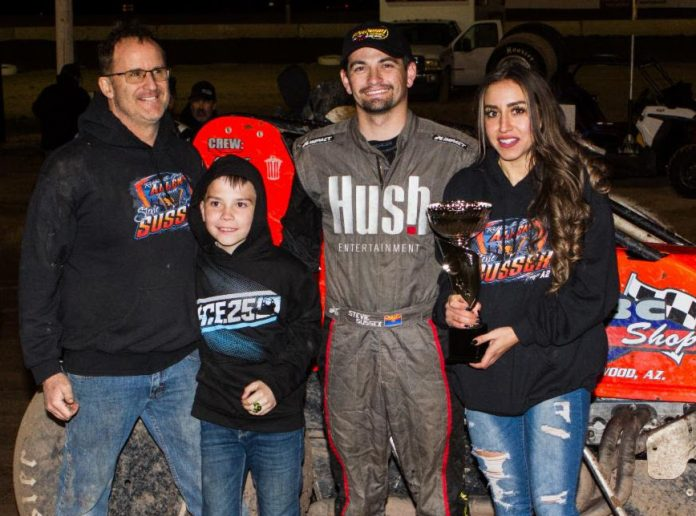 Stevie Sussex in victory lane at Central Arizona Speedway. (Ron Gilson photo)