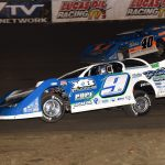 Devin Moran (9) races under Kyle Bronson at East Bay Raceway Park. (Paul Arch photo)