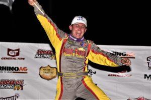Devin Moran celebrates victory at East Bay Raceway Park. (Al Steinberg photo)