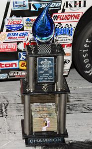 The first-place trophy for the Sunrise Ford All-Star Showdown, money and all. (Steve Himelstein Photo)