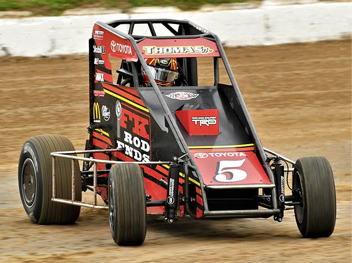 Kevin Thomas Jr. was fastest in USAC NOS Energy Drink National Midget Series practice Thursday at Bubba Raceway Park. (Al Steinberg Photo)