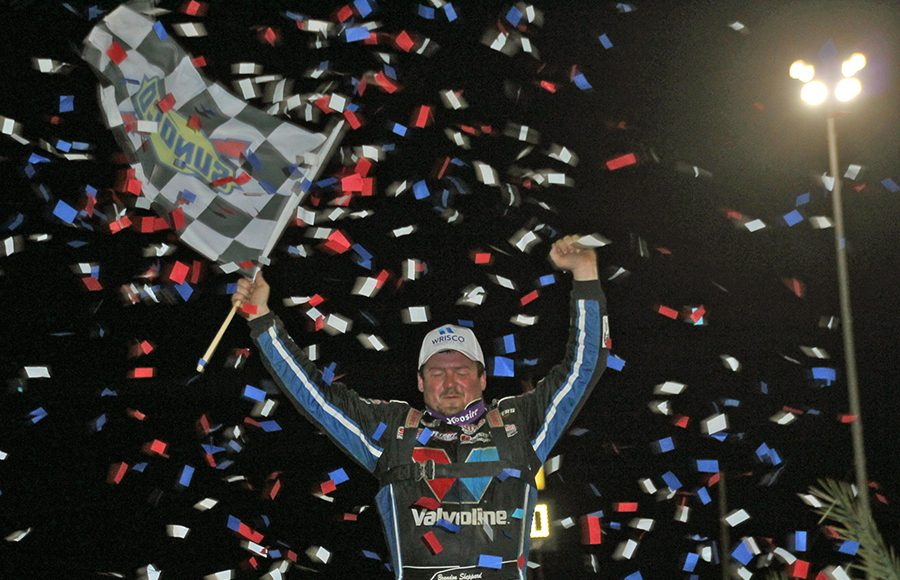 Brandon Sheppard celebrates after winning Thursday's Lucas Oil Late Model Dirt Series feature at East Bay Raceway Park. (Jim Denhamer Photo)