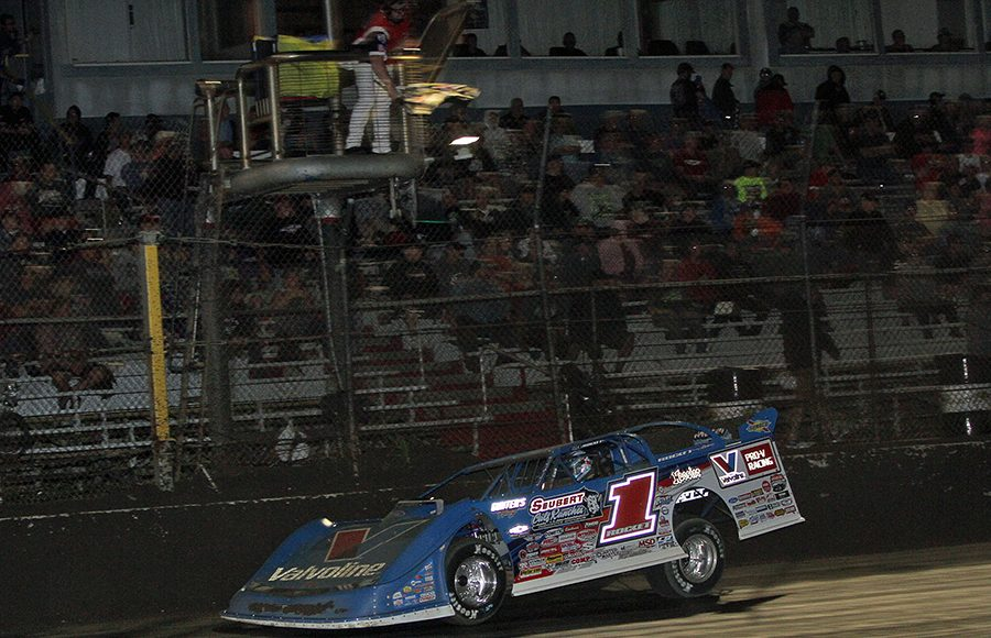 Brandon Sheppard crosses the finish line to win Thursday's Lucas Oil Late Model Dirt Series feature at East Bay Raceway Park. (Jim Denhamer Photo)