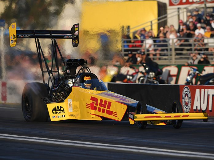 Shawn Langdon raced to the No. 1 spot in Top Fuel qualifying Friday at Auto Club Raceway at Pomona. (NHRA Photo)
