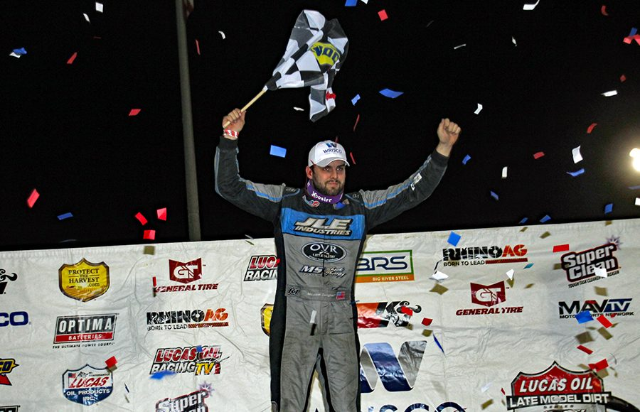 Mason Zeigler celebrates after winning Friday's Lucas Oil Late Model Dirt Series feature at East Bay Raceway Park. (Jim Denhamer Photo)
