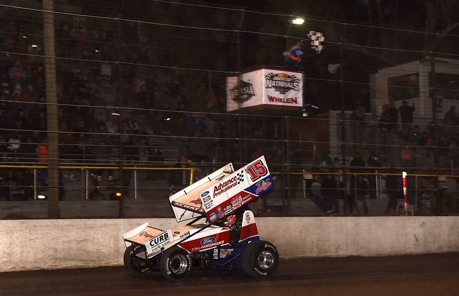 Donny Schatz takes the checkered flag to win Friday's World of Outlaws NOS Energy Drink Sprint Car Series feature at Volusia Speedway Park. (Paul Arch Photo)